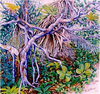 Tapororoca cheio de palha - Óleo sobre tela: 95 x 90 cm.